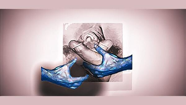 Bites et chatte à pleines mains |Une représentation des sexes comme les fruits d'une moisson païenne | Dessin numérique © David Noir