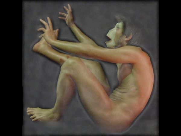La chute du singe nu | L'acteur primitif négligemment précipité par la culture officielle d'État (plouf!) | Autoportrait © David Noir