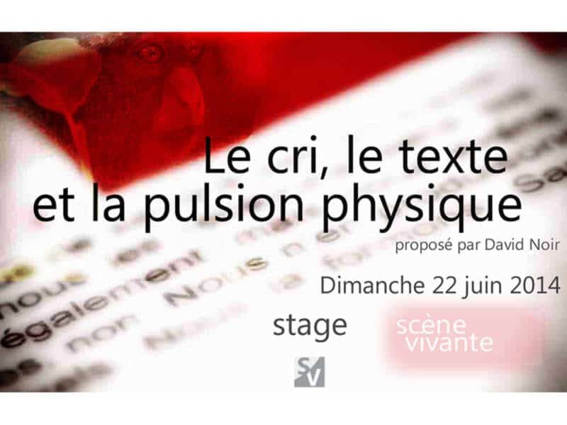"Stage Scène Vivante | ""Le cri, le texte et la pulsion physique"" 