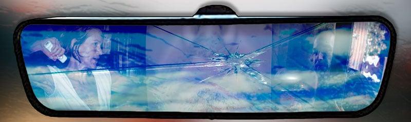 Mobil'Homme | Un accident | Rétroviseur | Visuel © David Noir 2019