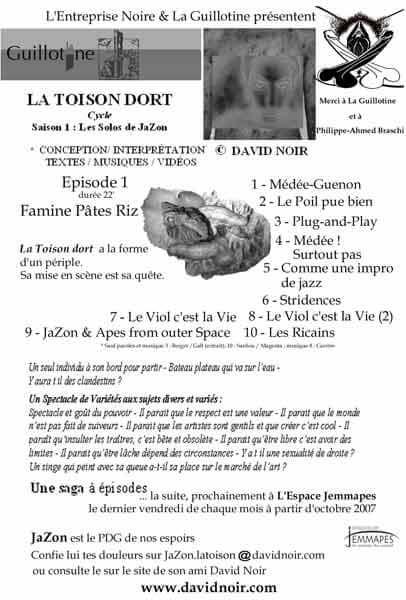 Programme de salle | Espace Jemmapes | La Toison Dort | Épisode 1 | Famine Pâtes Riz | Visuel © David Noir