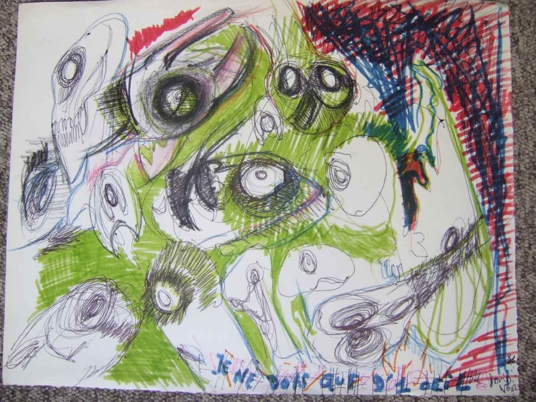 Je ne dors que d'un œil © David Noir | Dessins, peintures, collages