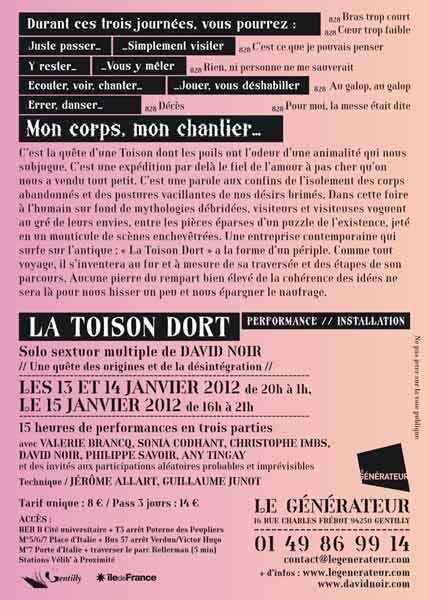 La Toison dort au Générateur | Flyer | Texte ©  David Noir | Graphisme © Philippe  Savoir