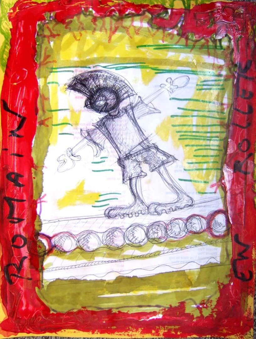 Romain en roller © David Noir | Dessins, peintures, collages