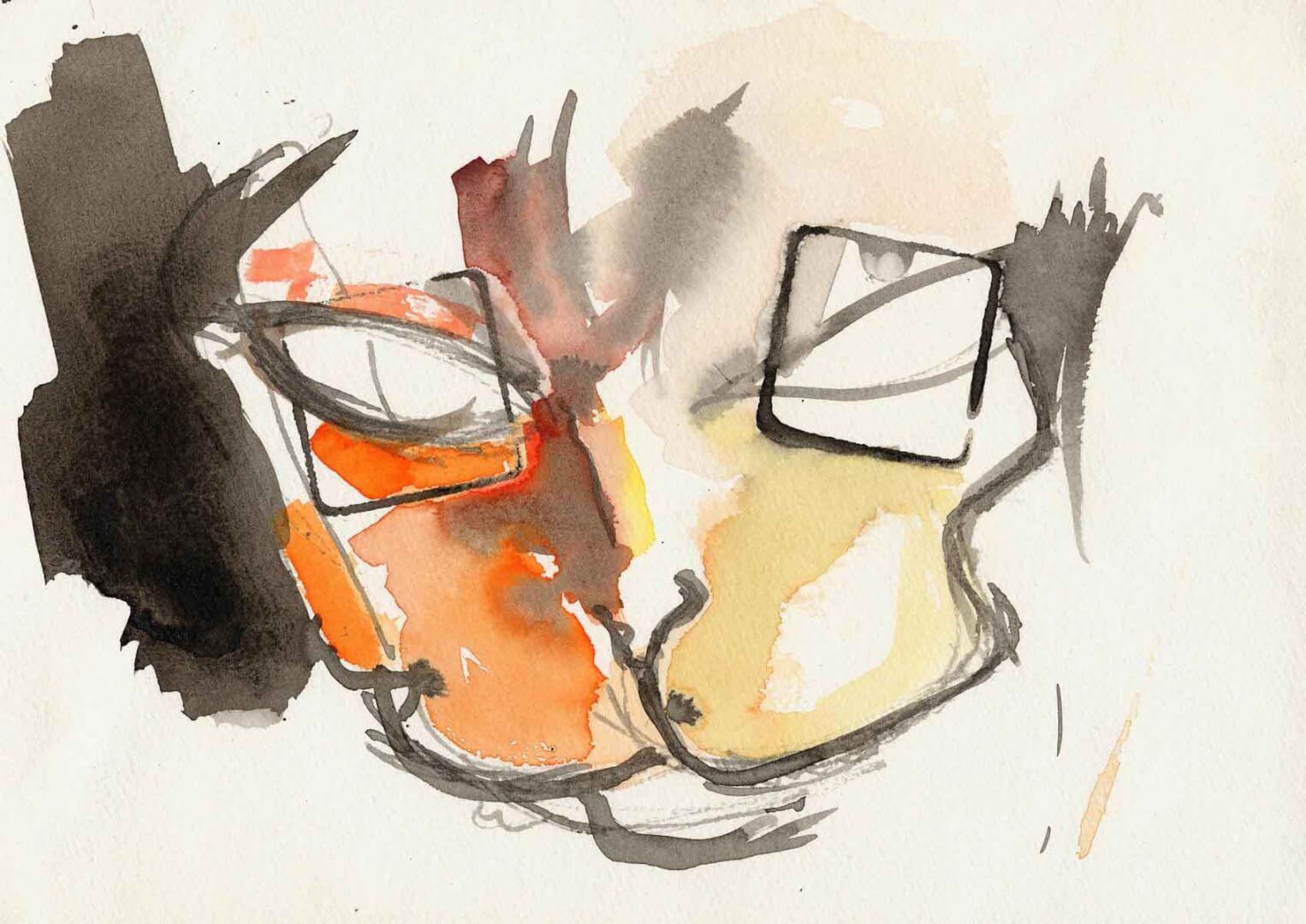Chat verres correcteurs © David Noir | Dessins, peintures, collages