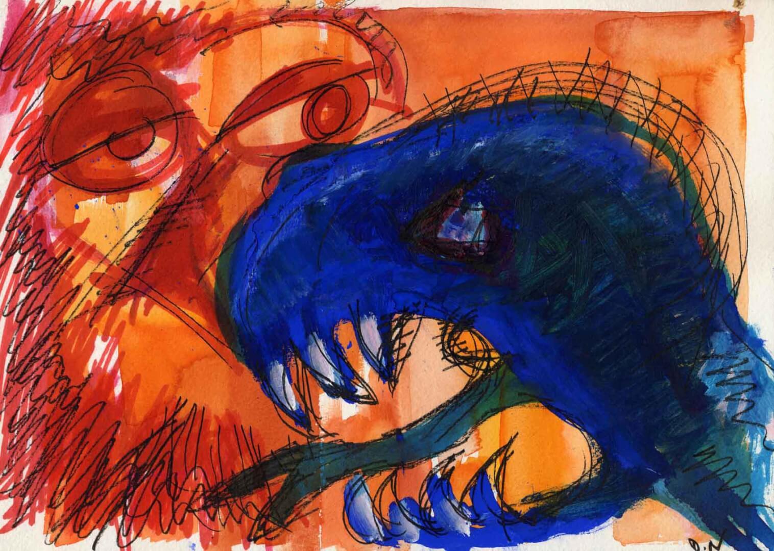 Chimère bleue © David Noir | Dessins, peintures, collages
