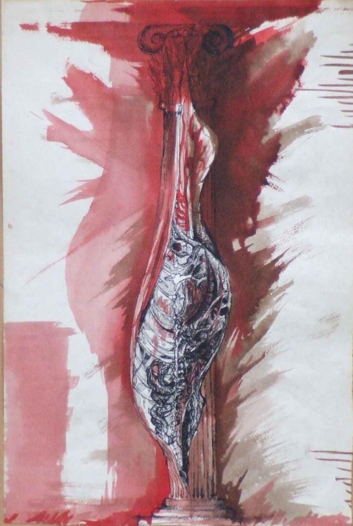 Colonne adhésive 2 © David Noir | Dessins, peintures, collages