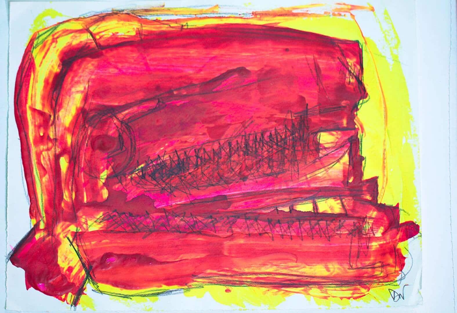 Crâne rouge © David Noir | Dessins, peintures, collages