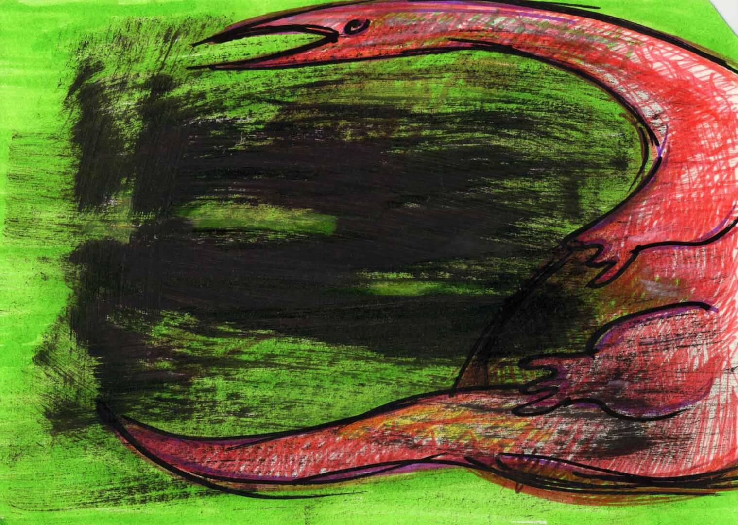 Dinosaure au repos © David Noir | Dessins, peintures, collages