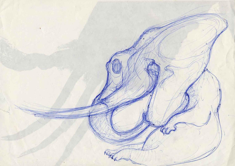 Éléphant zombie au repos © David Noir | Dessins, peintures, collages