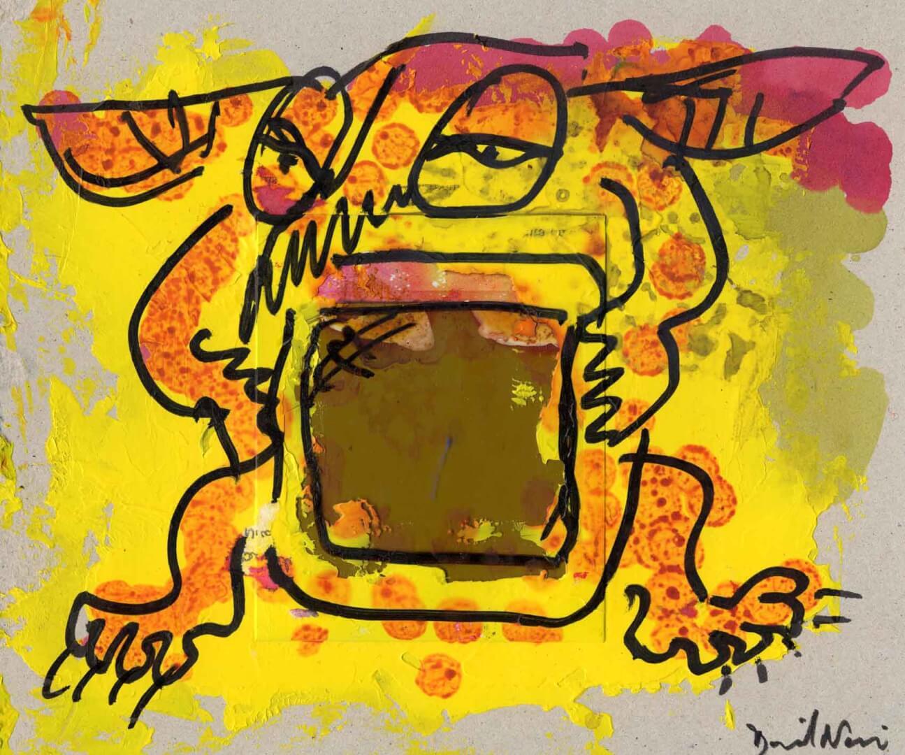 Gremlin avec télé © David Noir | Dessins, peintures, collages