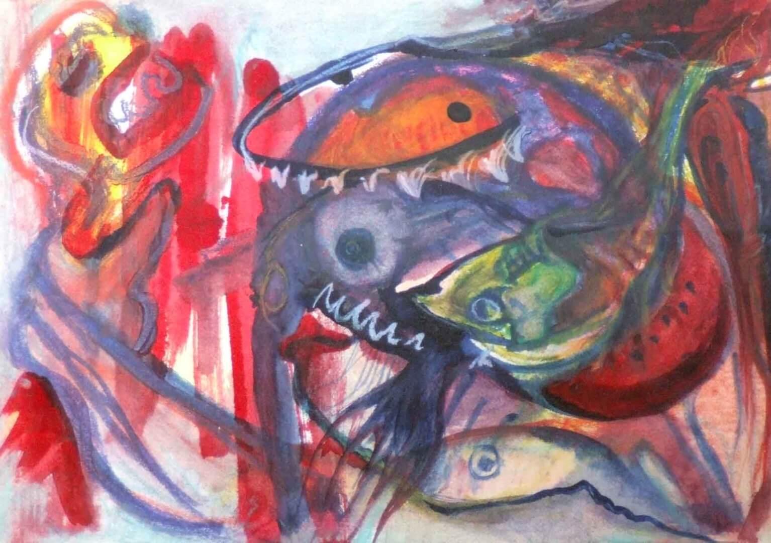 La vengeance des poissons à la pastèque © David Noir | Dessins, peintures, collages