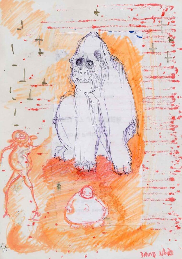 Le beau singe © David Noir | Dessins, peintures, collages