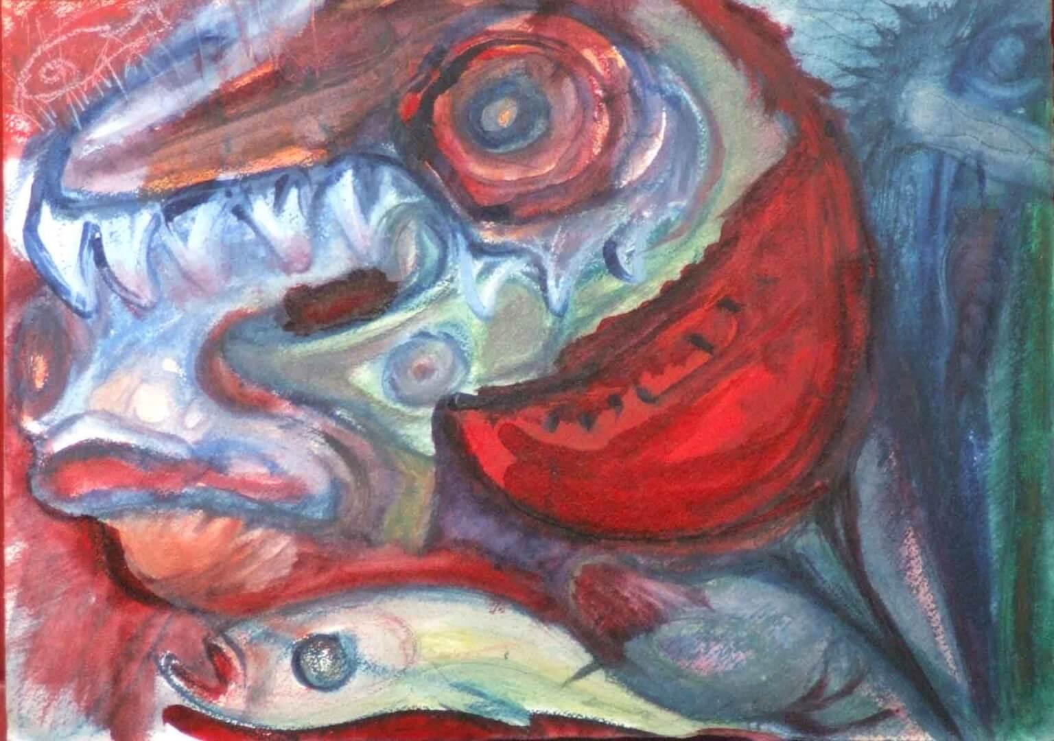 Les poissons à la pastèque © David Noir | Dessins, peintures, collages