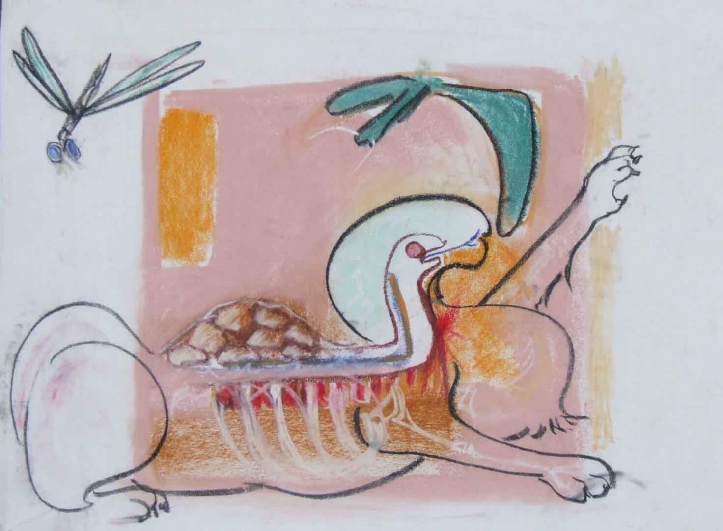 Monstre et libellule © David Noir | Dessins, peintures, collages
