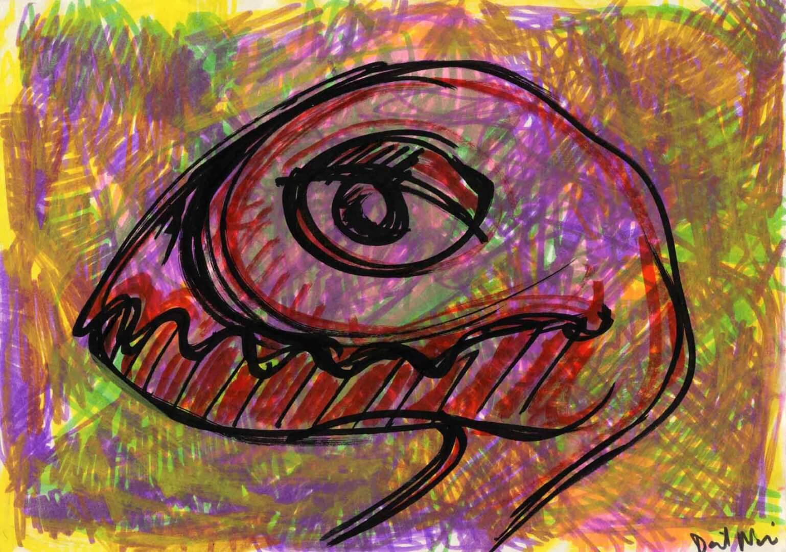 Oiseau à dents © David Noir | Dessins, peintures, collages