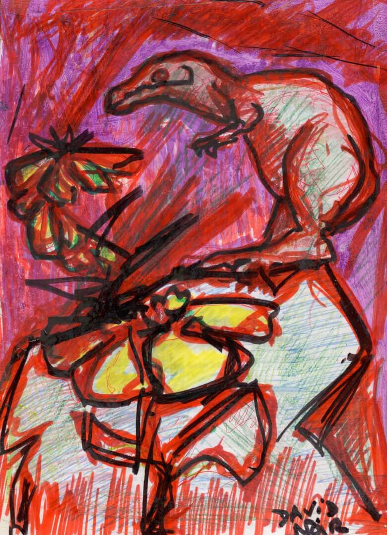 Paleo fleur © David Noir | Dessins, peintures, collages