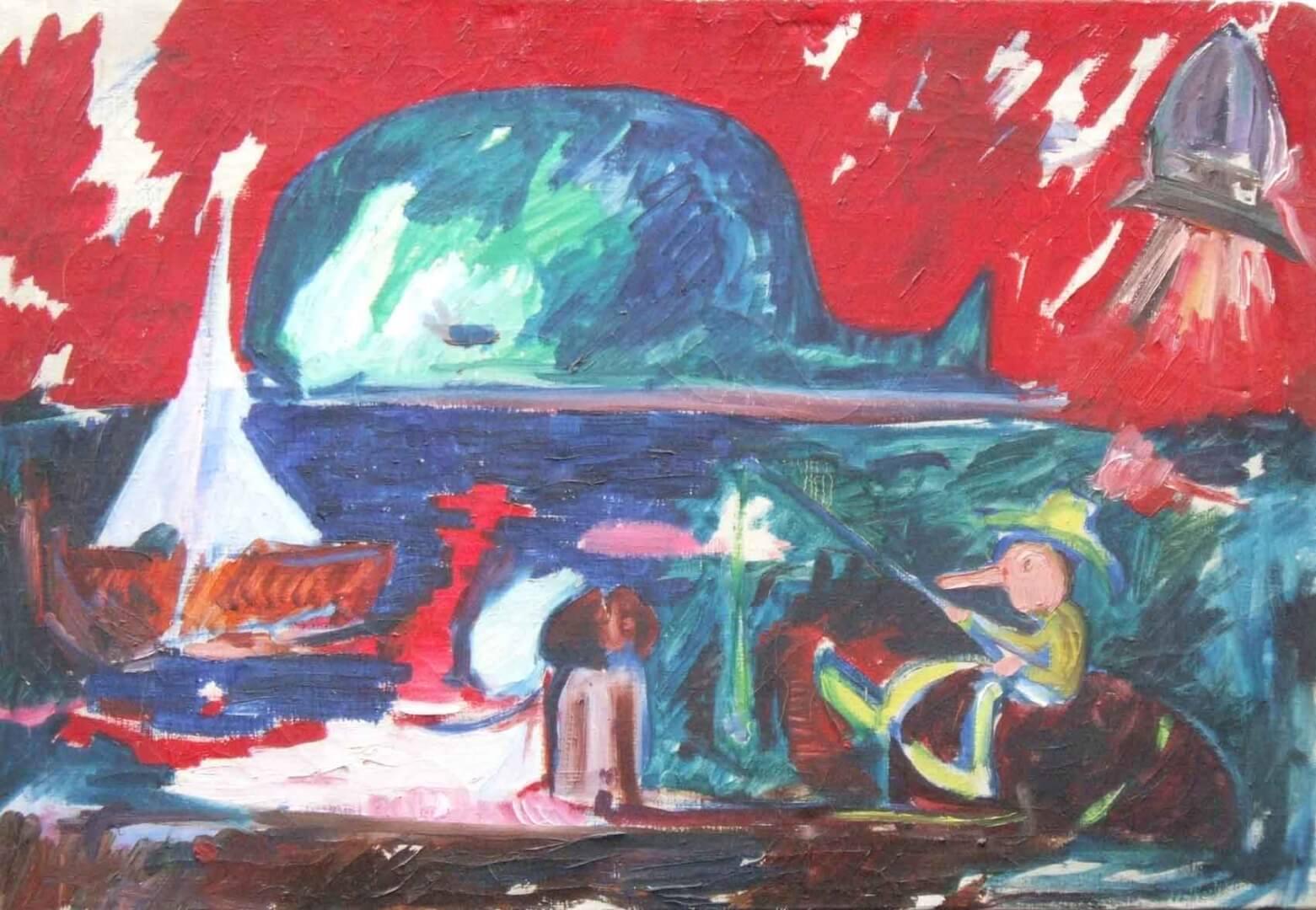 Pinocchio à la pêche © David Noir | Dessins, peintures, collages