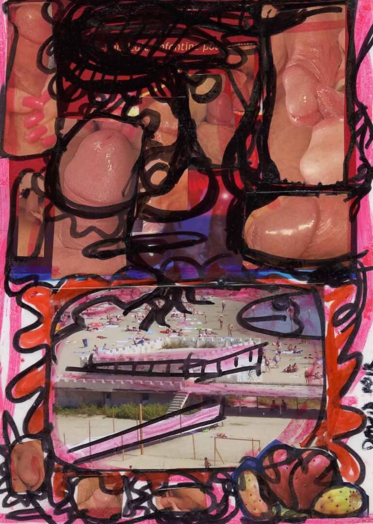 Plage à bites © David Noir | Dessins, peintures, collages