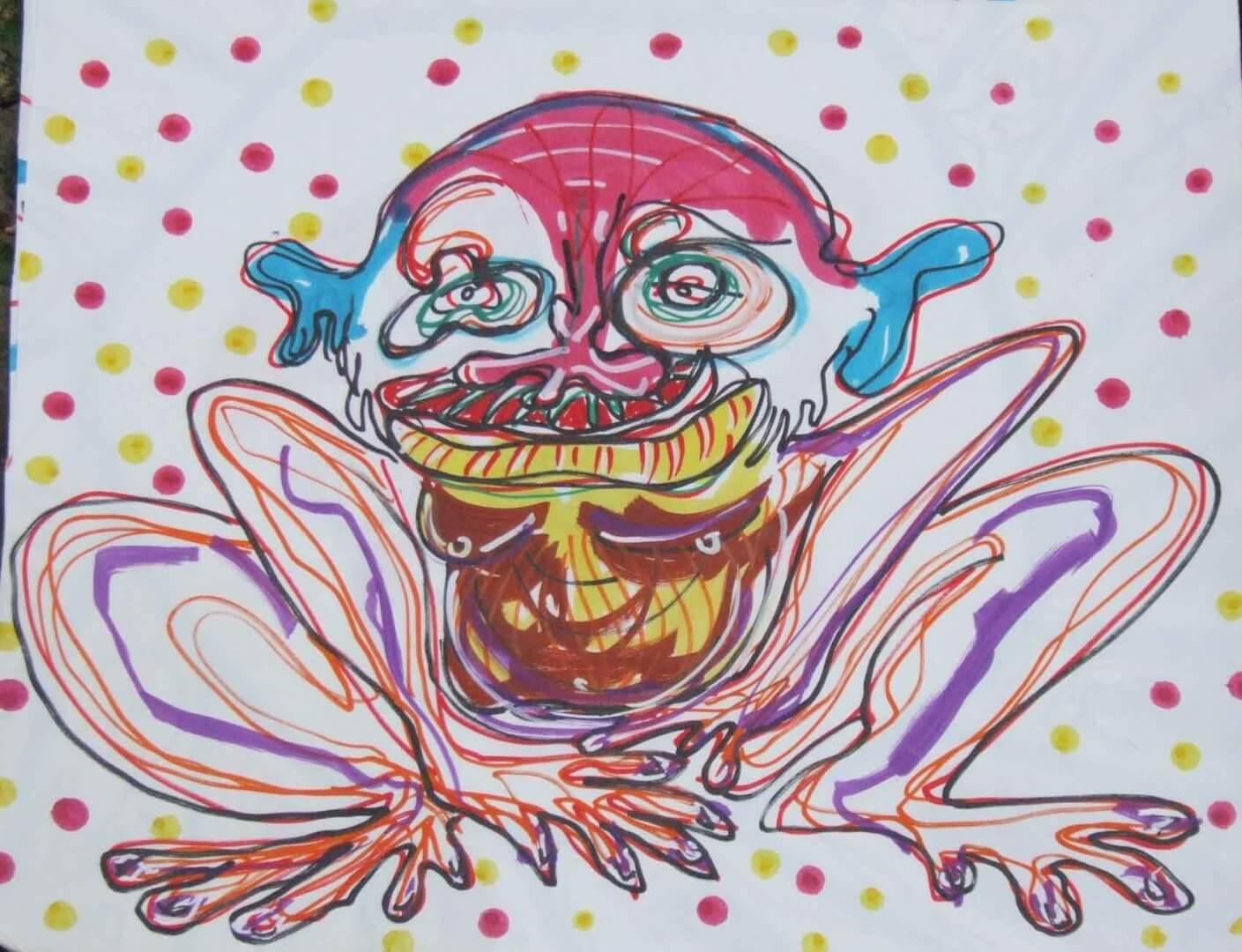 Singe grenouille © David Noir | Dessins, peintures, collages