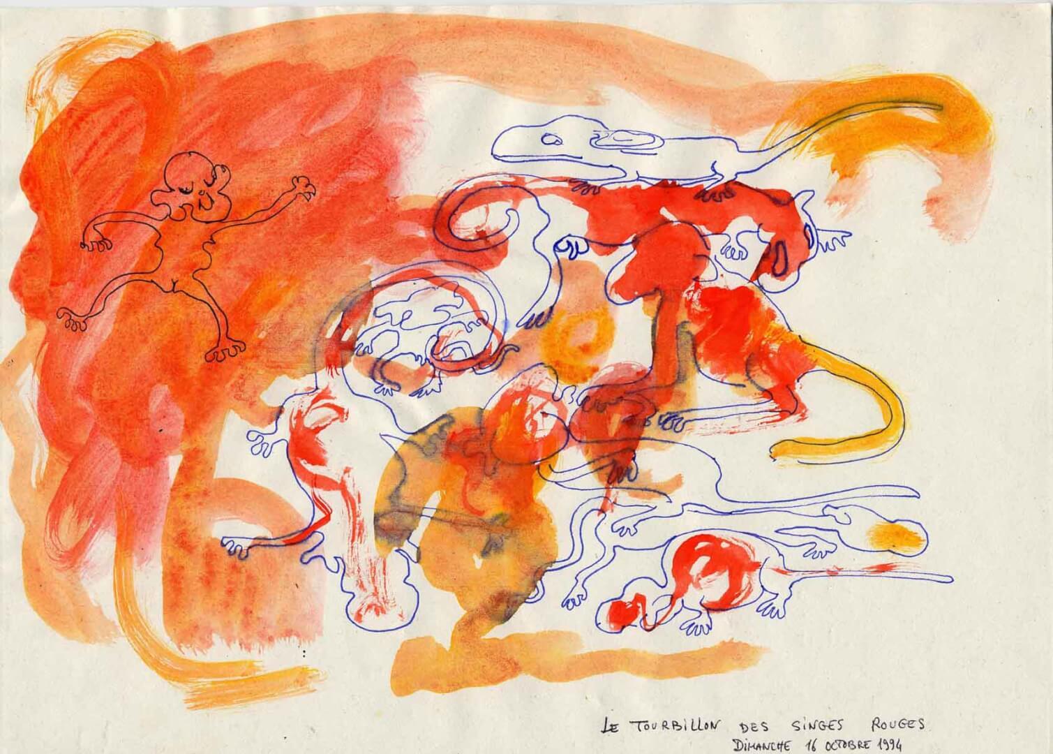 Tourbillon de singes rouges © David Noir | Dessins, peintures, collages