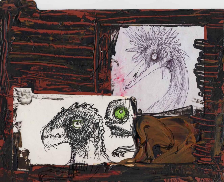 Trois laids dans la merde © David Noir | Dessins, peintures, collages