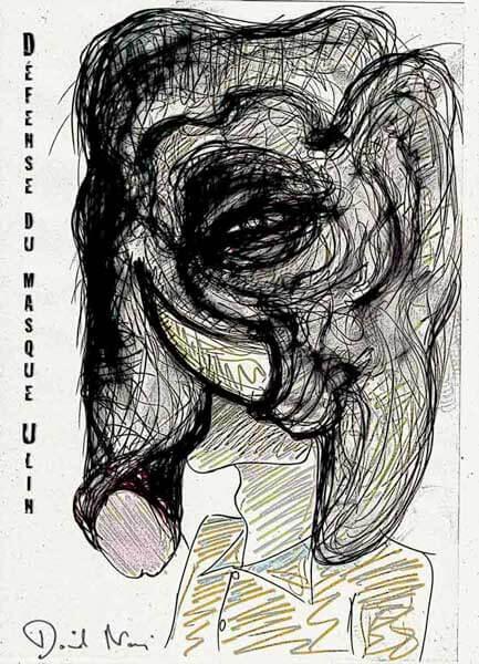 Défense du masque Ulin | #frasq | Dessin © David Noir
